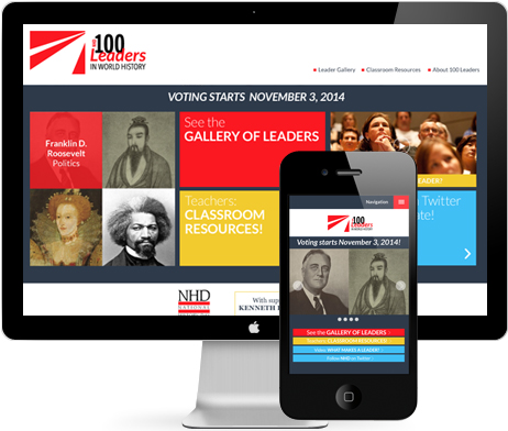 IMAGE: 100Leaders website in laptop and mobile devices