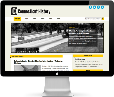 IMAGE: Home page, Connecticut History website