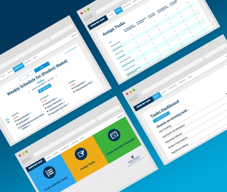 IMAGE:screens of schedule and task management web app
