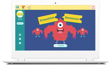 IMAGE: Start page, Scrambled Sentences vocabulary game