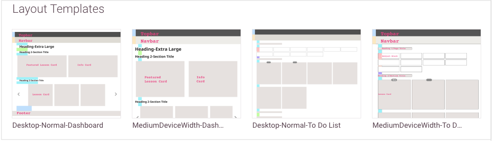 IMAGE: Snapshot of layouts uploaded to Zeplin