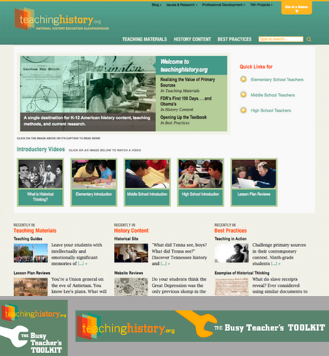 IMAGE:Home page and digital ads for Teaching History